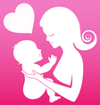 Mother carrying her child on pink background vector