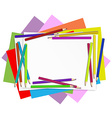 Empty papers with colourful pencils vector