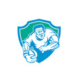 Rugby player running ball shield linocut vector