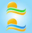 Rising sun and sea waves sand and grass icons vector