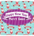 New year and christmas greeting card with santa vector