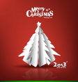 Merry christmas postcard with origami xmas tree vector