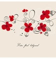 Red flowers composition vector