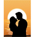 Silhouettes of loving couple at sunset vector