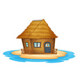 Bungalow on desert island vector