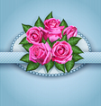 Roses postcard blue vector