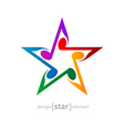 Colorful star with wavy notes on white background vector