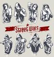 Hooded gangsters vector