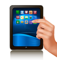 Hand holding tablet computer vector