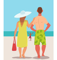 Family vacation on the beach vector