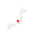 Japan flag map with shadow effect presentation vector