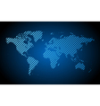 Blue hatched world map vector
