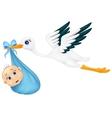 Cartoon stork with baby vector