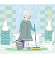 Cartoon character housemaid with mop vector