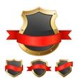 Black golden frame shields with ribbon vector