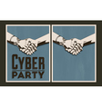 Set of cyber party posters vector