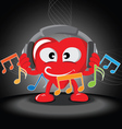 Funny heart listening music vector