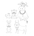Set cartoon animals outline vector