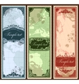 Set of three vintage bookmarks with map parts vector