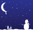 Man hanging on the moon and snowman vector
