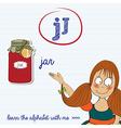 Alphabet worksheet of the letter j vector
