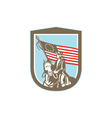 American revolutionary serviceman horse flag retro vector