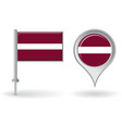 Latvian pin icon and map pointer flag vector
