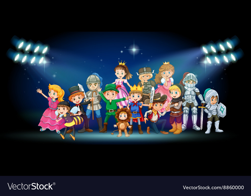 Actors in costumes on stage vector image