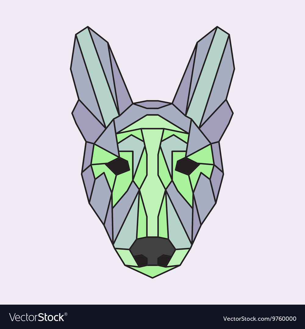 Green and purple low poly dog vector image