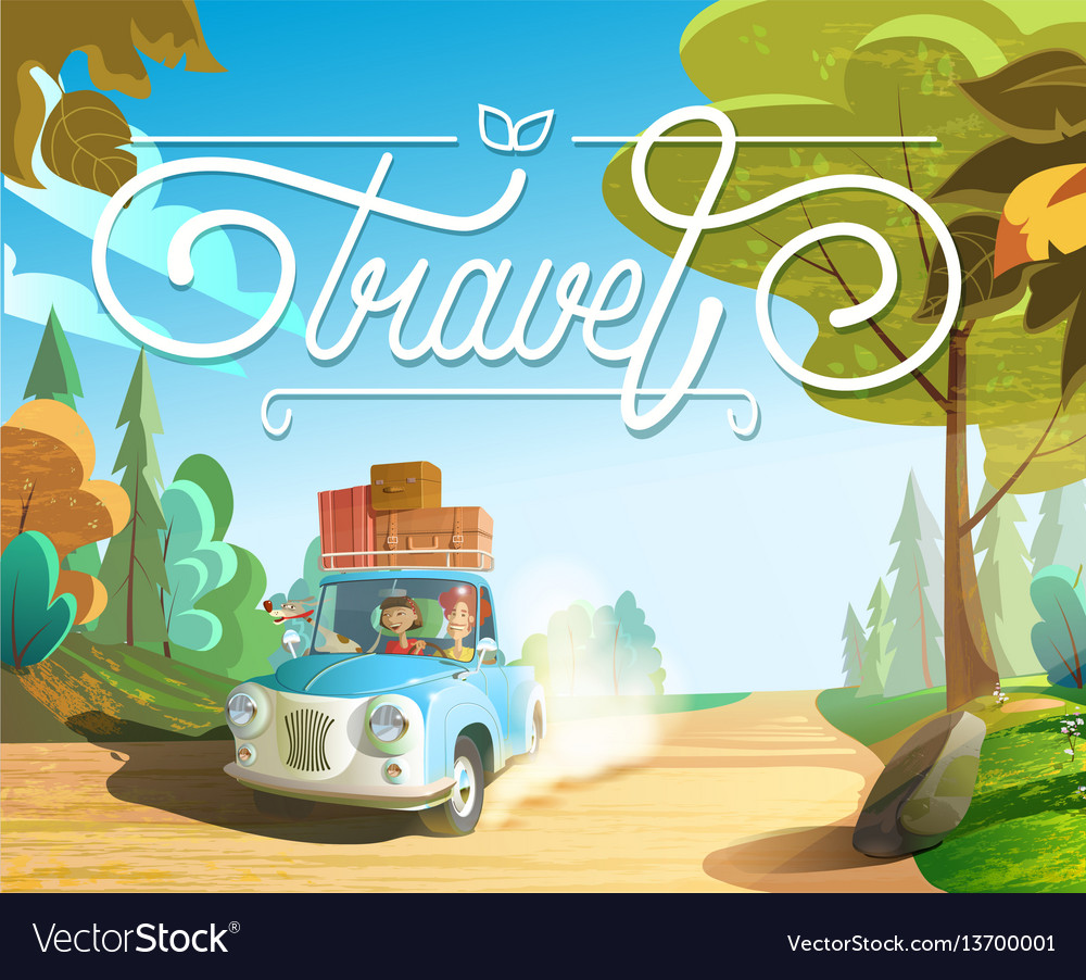 The family goes on holiday car family with pets vector image