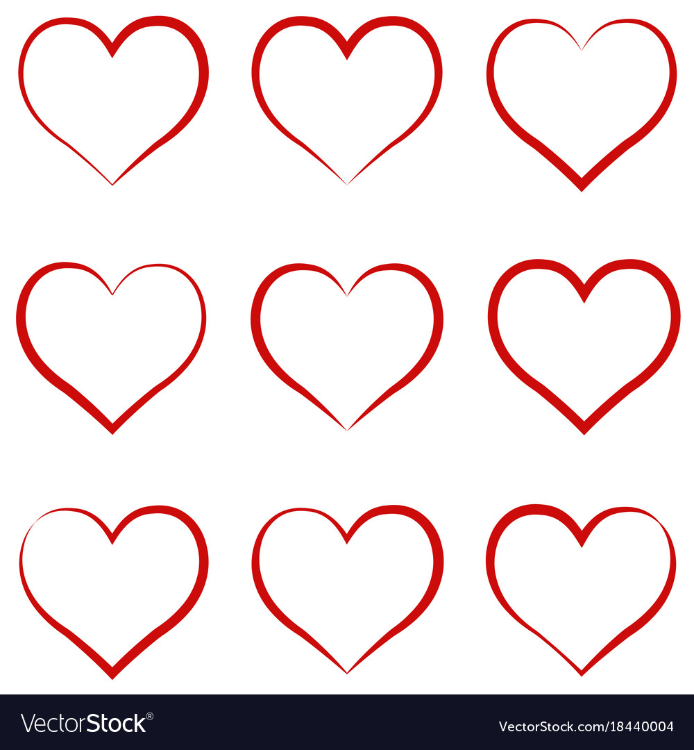 Heart outline red set symbol of the friendship vector image buycottarizona Image collections