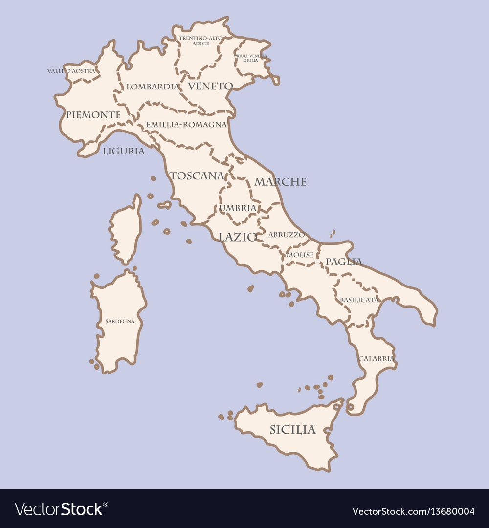 Italy Map With Regions Royalty Free Vector Image - Italy map regions