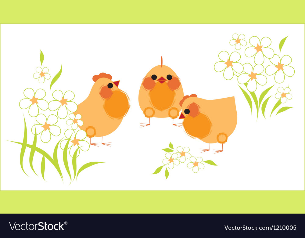 Chickens and flowers vector image