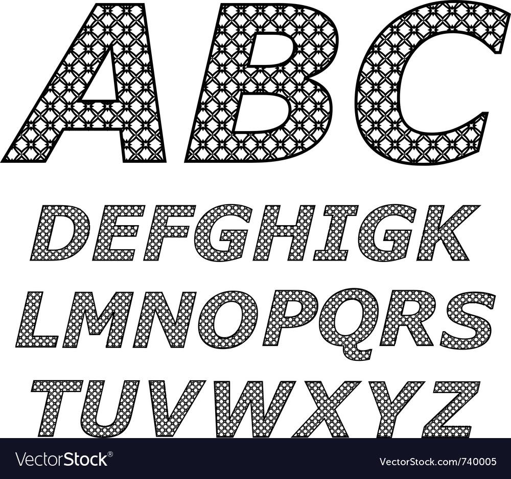 Black and white alphabet vector image
