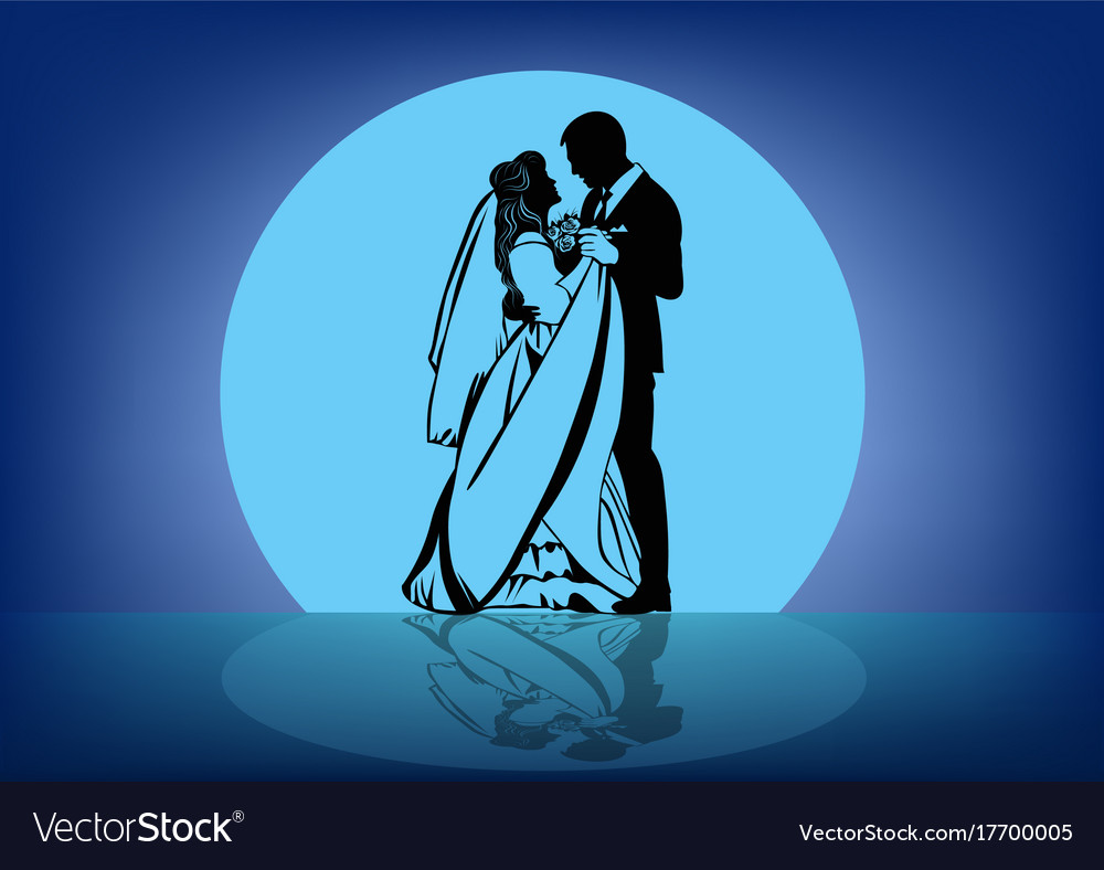 Contour image of the dancing bride and groom vector image