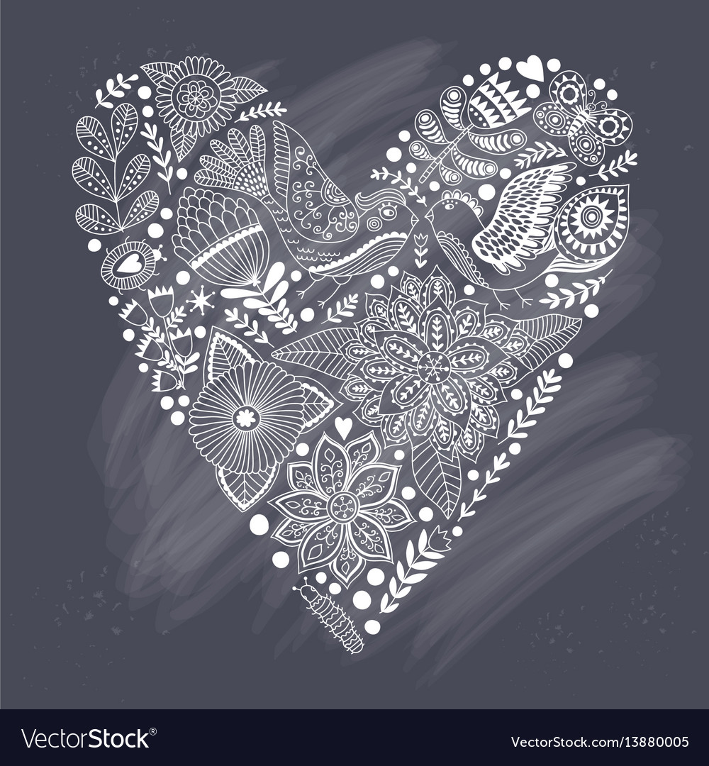 Floral heart made of flowers and herbs vector image