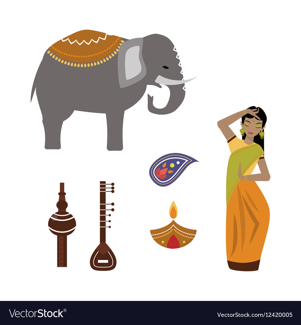 India animals and woman icons vector image