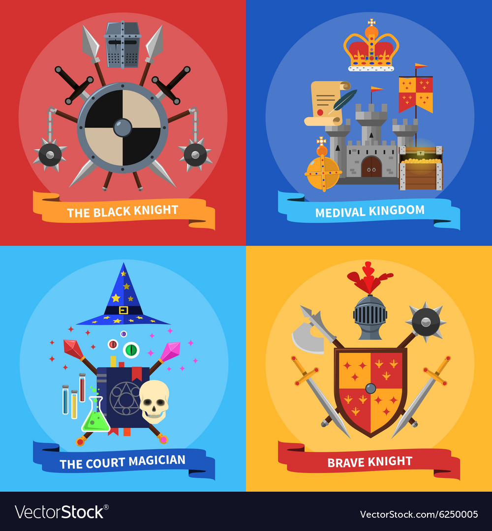 Knights concept 4 flat icons square vector image