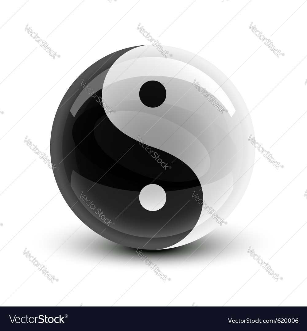Yin and yang symbol on a glossy ball Vector Image