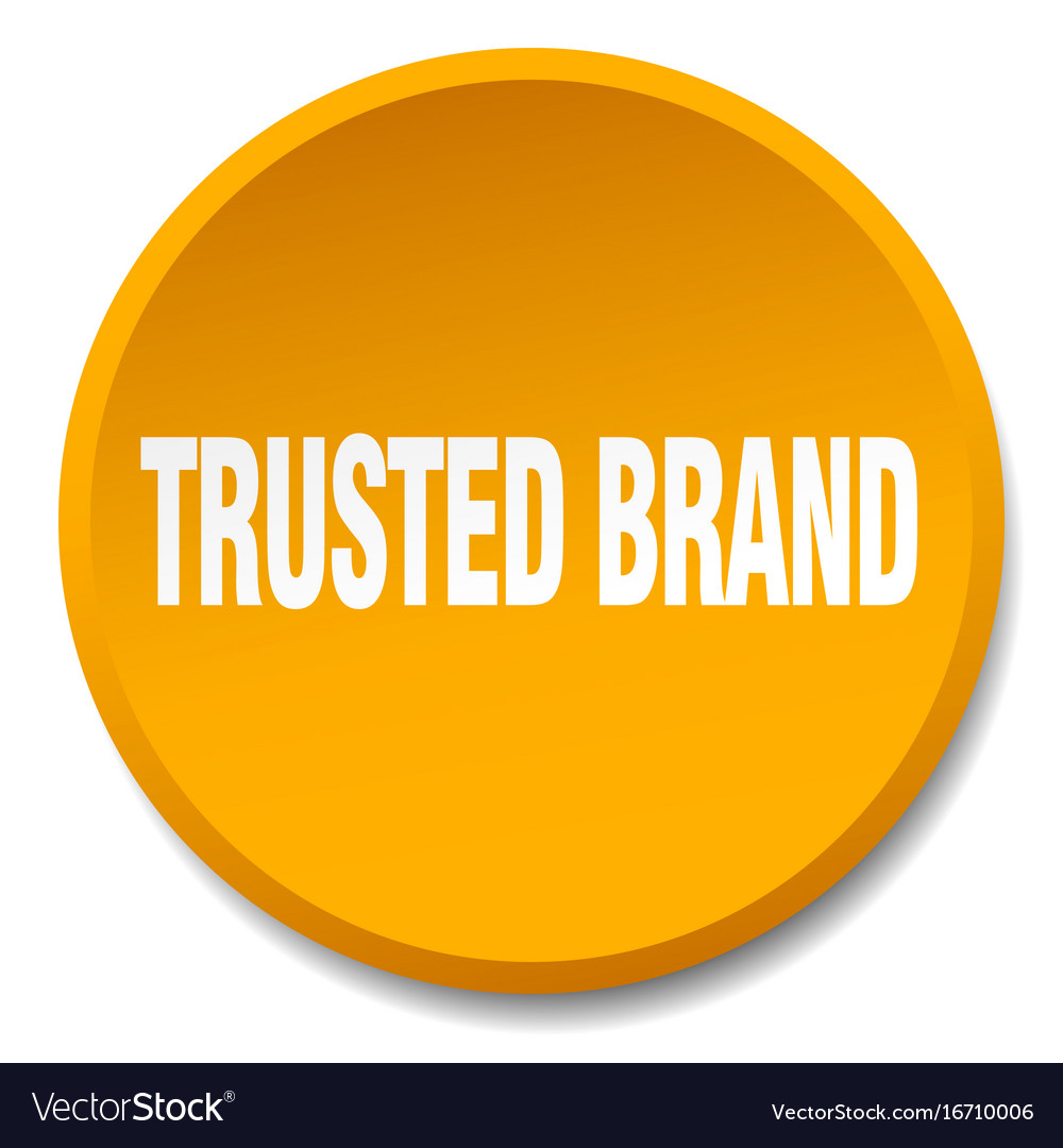 Trusted brand orange round flat isolated push vector image