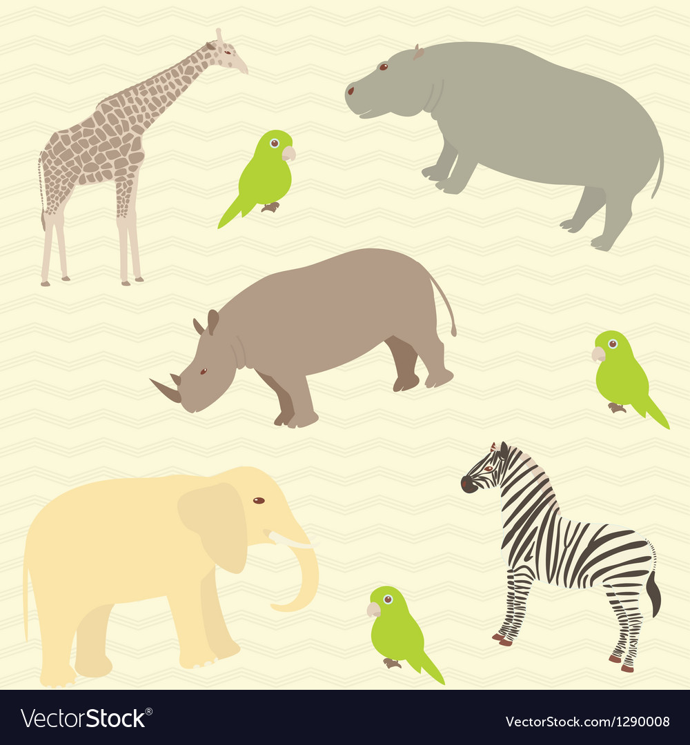 Seamless african animals pattern vector image