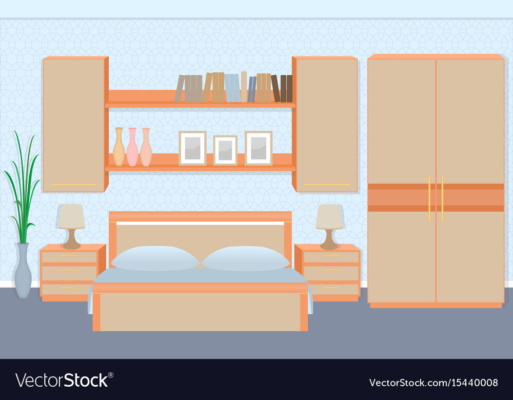 Graceful bedroom interior with furniture vector image