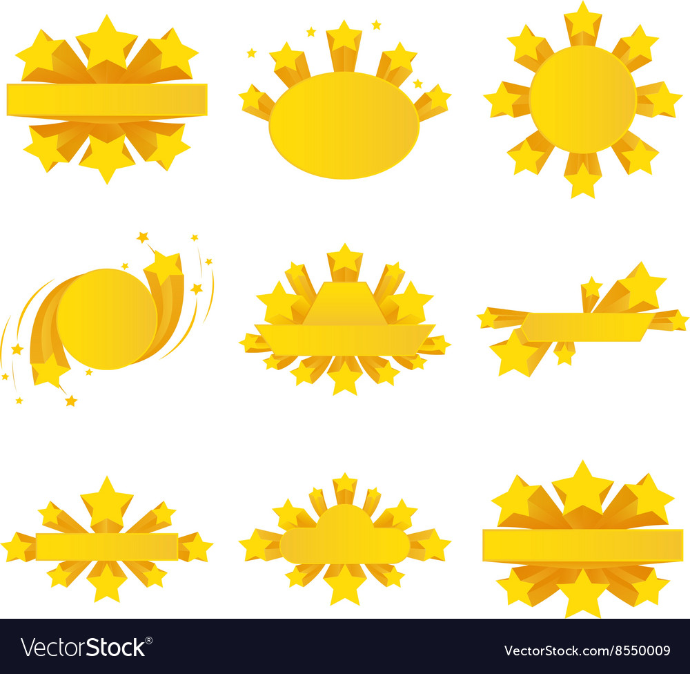 Labels with star burst ribbons stars around vector image