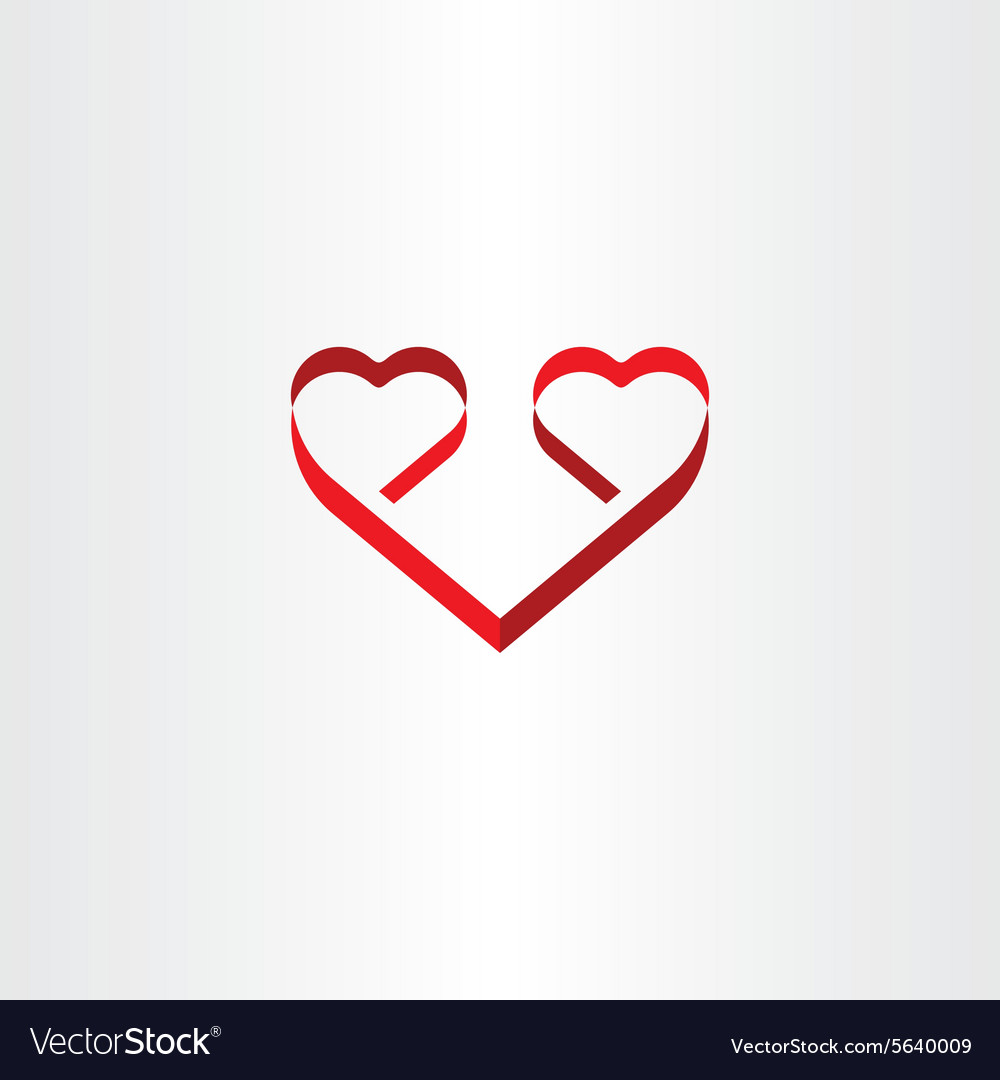 Stylized red ribbon heart shape love symbol vector image