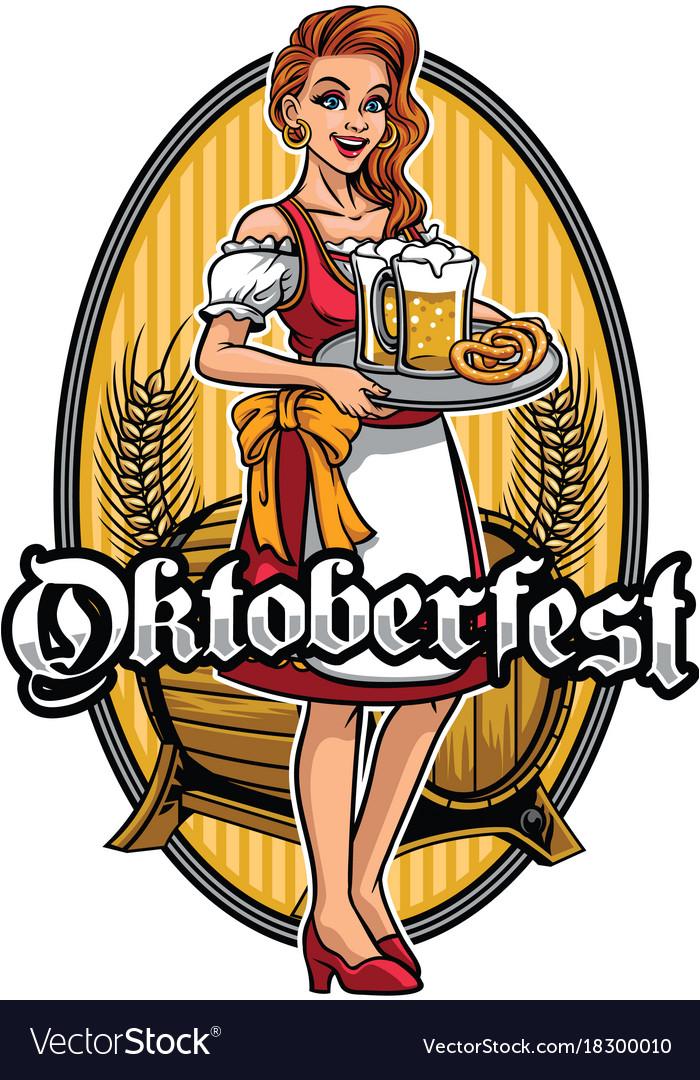 Beautiful girl wearing drindl presenting the beers vector image