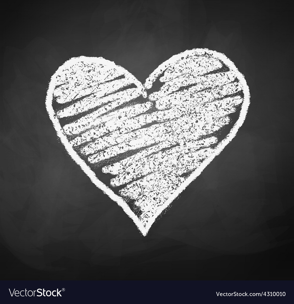 Chalkboard drawing of heart vector image