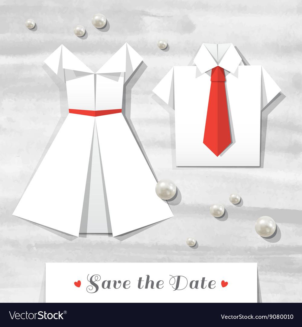 Origami wedding invitation vector image