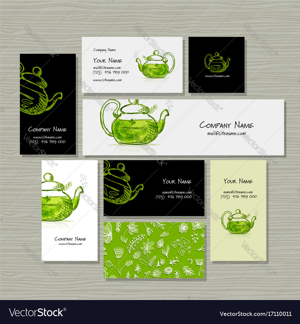 Business cards design herbal tea Royalty Free Vector Image