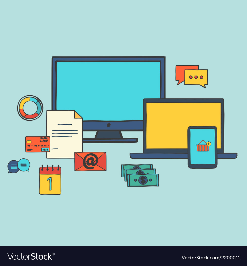 Modern hand draw icons collection web design vector image