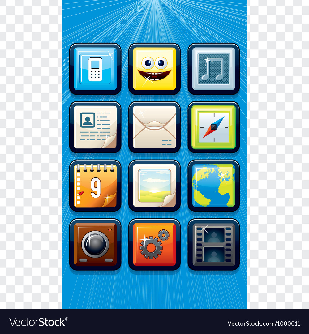 Smart Phone apps icons vector image